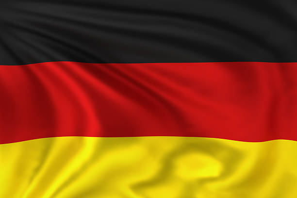 High quality illustration of the Flag of Germany waving in the wind.