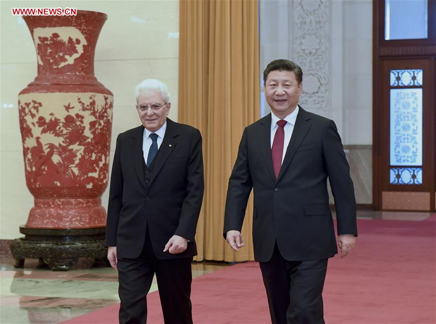 CHINE ITALIE Chinese President Xi Jinping (R) holds a welcome ceremony for his Italian counterpart Sergio Mattarella before their talks in Beijing, capital of China, Feb. 22, 2017.(Xinhua-Li Xueren) 136077437_14878063328511n