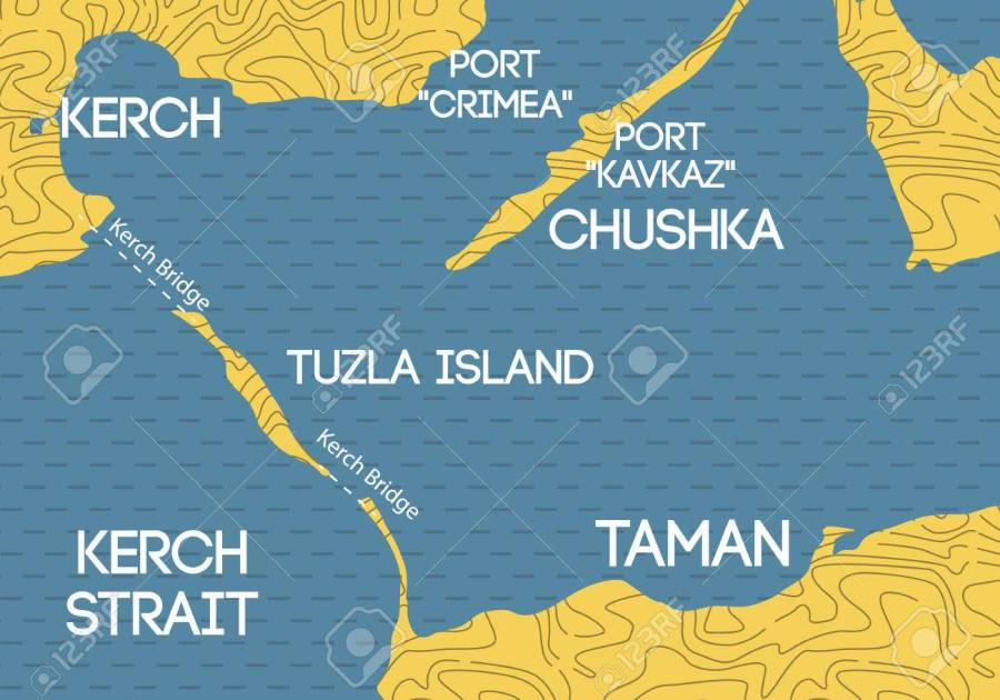 Bridge to Crimea. Schematic map of Kerch bridge.