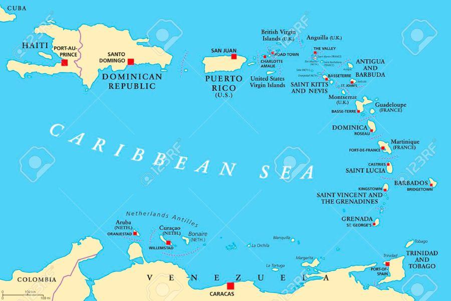 CURACAO 67969451-petites-antil'infrastructure de l'île de Curaçao lles-carte-politique-les-caribes-avec-haïti-la-république-dominicaine-et-puerto-rico-dans-la