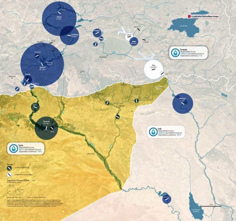 SYRIE Dans la guerre qui secoue la Syrie depuis 2011, un enjeu reste majeur - le contrôle des terres agricoles 0601_Puissance_hydraulique_Syrie_Turquie_V2-990x927