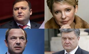 UKRAINE Les quatre principaux candidats à l'élection présidentielle en Ukraine du 25 mai, Mykhaïlo310x190_mikhail-dobkine-yulia-timoshanko-sergey-tigipko-petro-porochenko