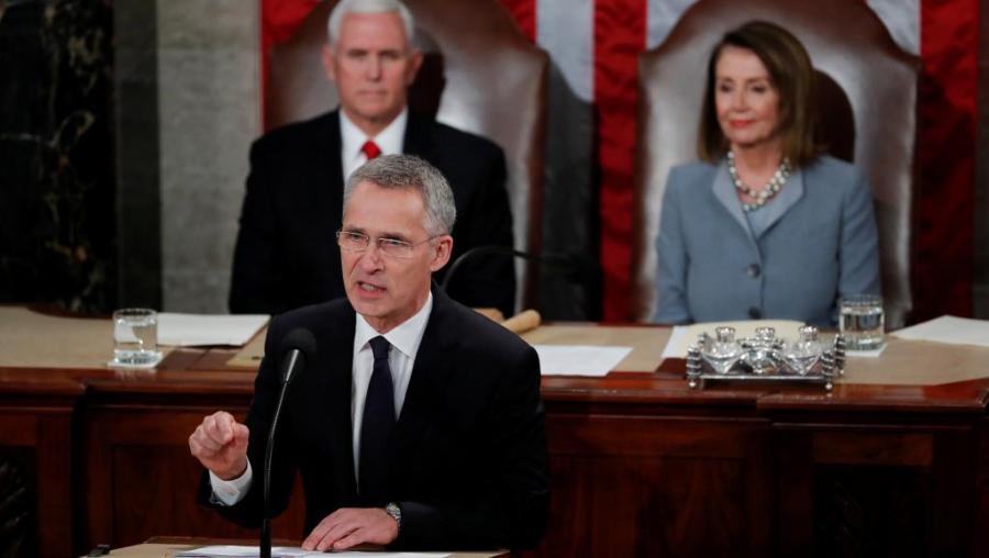 OTAN Le général Jens Stoltenberg, secrétaire général de l'Otan lors d'un discours solennel devant le Congrès américain,, à Washington,2019-04-03t165930z_1114901475_rc1a02982710_rtrmadp_3_usa-nato-congress_0
