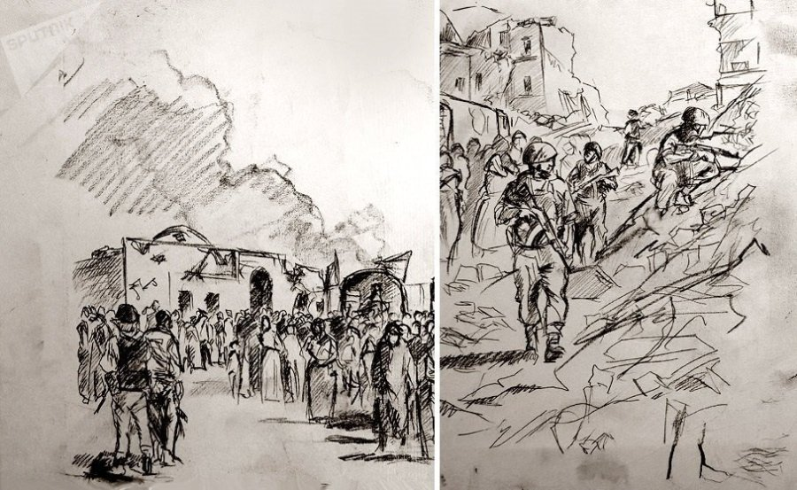 russie espagne peintre donation à la Russie du tableau -Alep. L'aide est arrivée- du peintre espagnol Augusto Ferrer-Dalmau1039799777