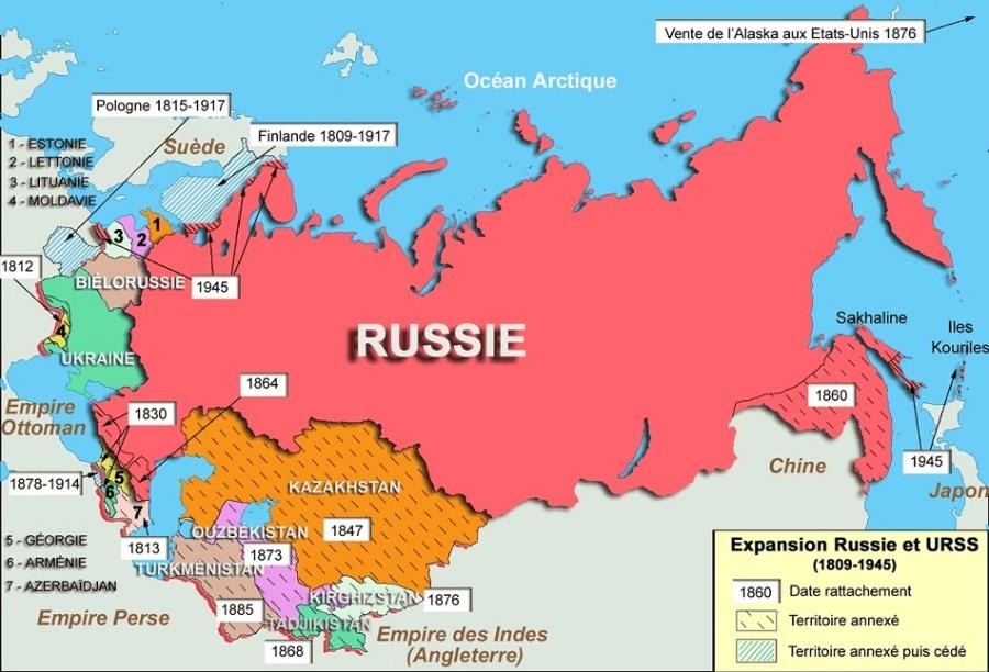 Russie-et-URSS-géographie-urss-de-1809-à-1845-territoires-rattachés-ou-anexés-vente-de-l-Alaska-aux-Etats-Unis-Pologne-Finlande-Russie-et-URSS