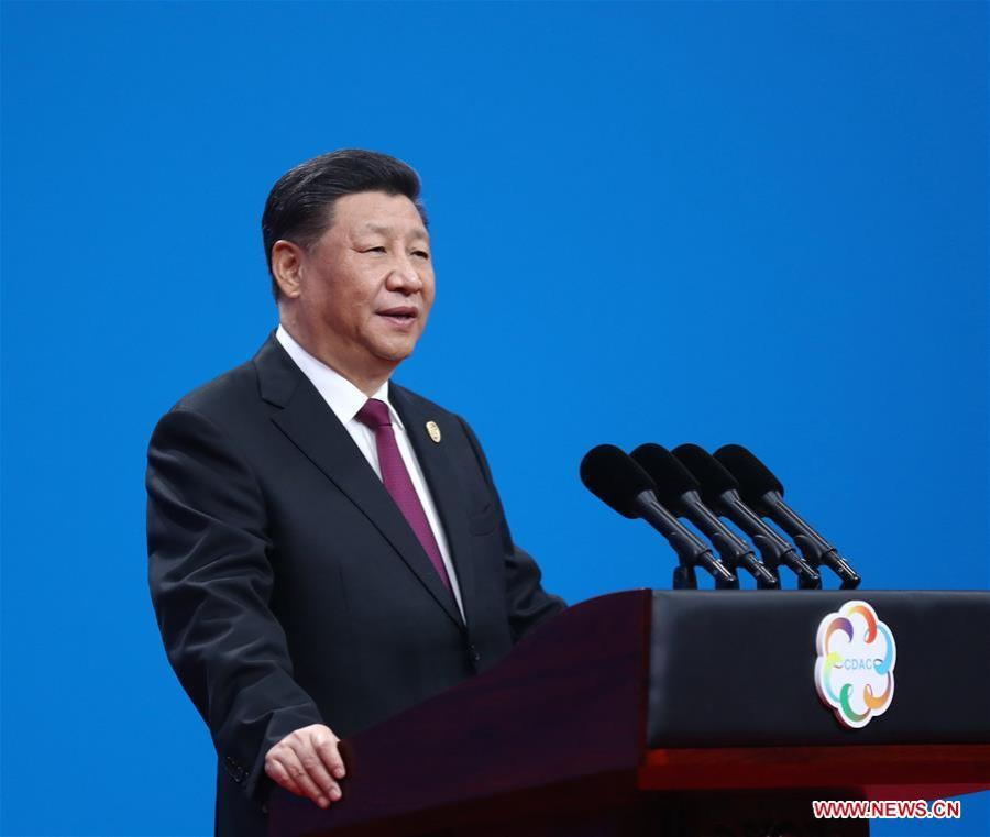 CHINE XI JINPING China National Convention Center in Beijing, capital of China, May 15, 2019. (Xinhua-Ju 138061098_15579248215721n