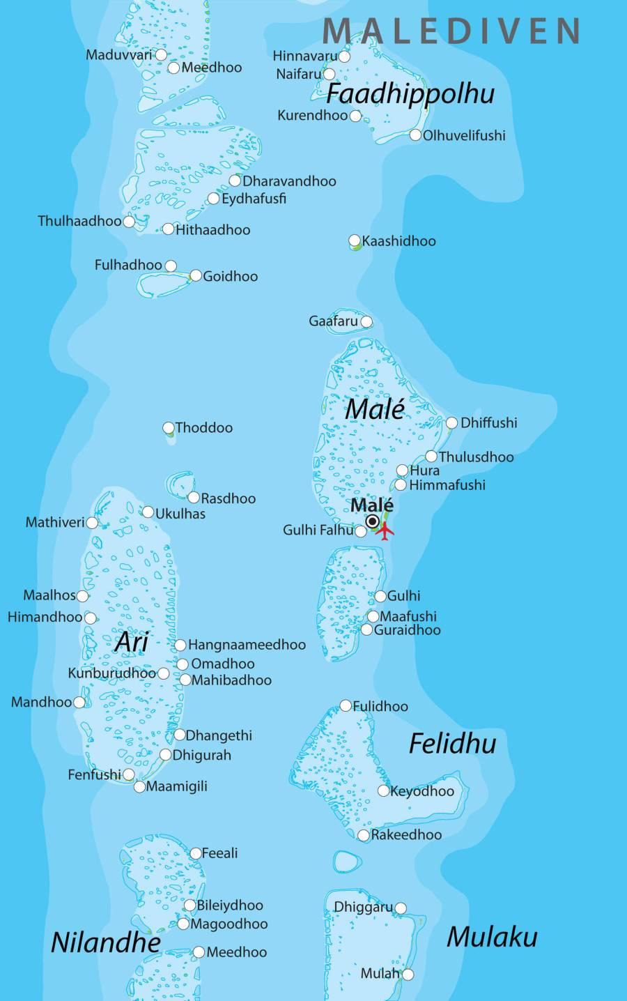 maldives Basisikaart-Malediven-vol
