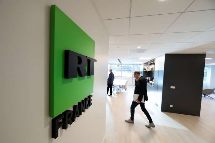 "A view shows the logo of RT France, at the studios of the Russian broadcaster RT, formerly known as ""Russia Today"", during a press visit in Boulogne-Billancourt"
