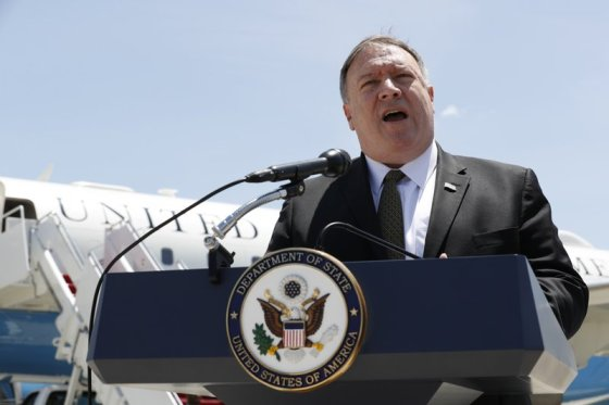USA Secretary of State Mike Pompeo speaks to the media at Andrews Air Force Base, Md., Sunday, June 23, 2019, before boarding a plane headed to Jeddah, Saudi Arabia. (AP Photo-Jacquelyn Martin, Pool)800