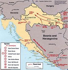 yougoslavie Carte des opérations planifiées par l'Armée populaire yougoslave (JNA) en 1991 telle qu'interprétée par la CIA 220px-JNA_offensive_plan_1991