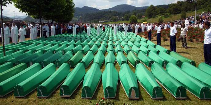 Coffins are seen lined up for a joint burial in Potocari