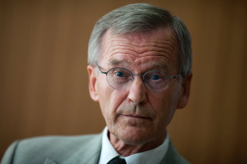 Constitutional lawyer Karl Albrecht Schachtschneider speaks during a news conference in Berlin