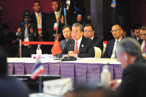 ASEAN CHINE On July 31, 2019 local time, State Councilor and Foreign Minister Wang Yi attended the China-Association of Southeast Asian Nations (ASEAN) Foreign Ministers' Meeting in Bangkok, Thailand. W020190802602764846983