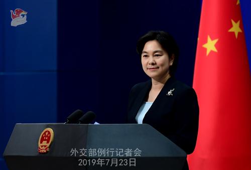 CHINE 1 Conférence de presse du 23 juillet 2019 tenue par la Porte-parole du Ministère des Affaires étrangères Hua Chunying W020190726643688146534