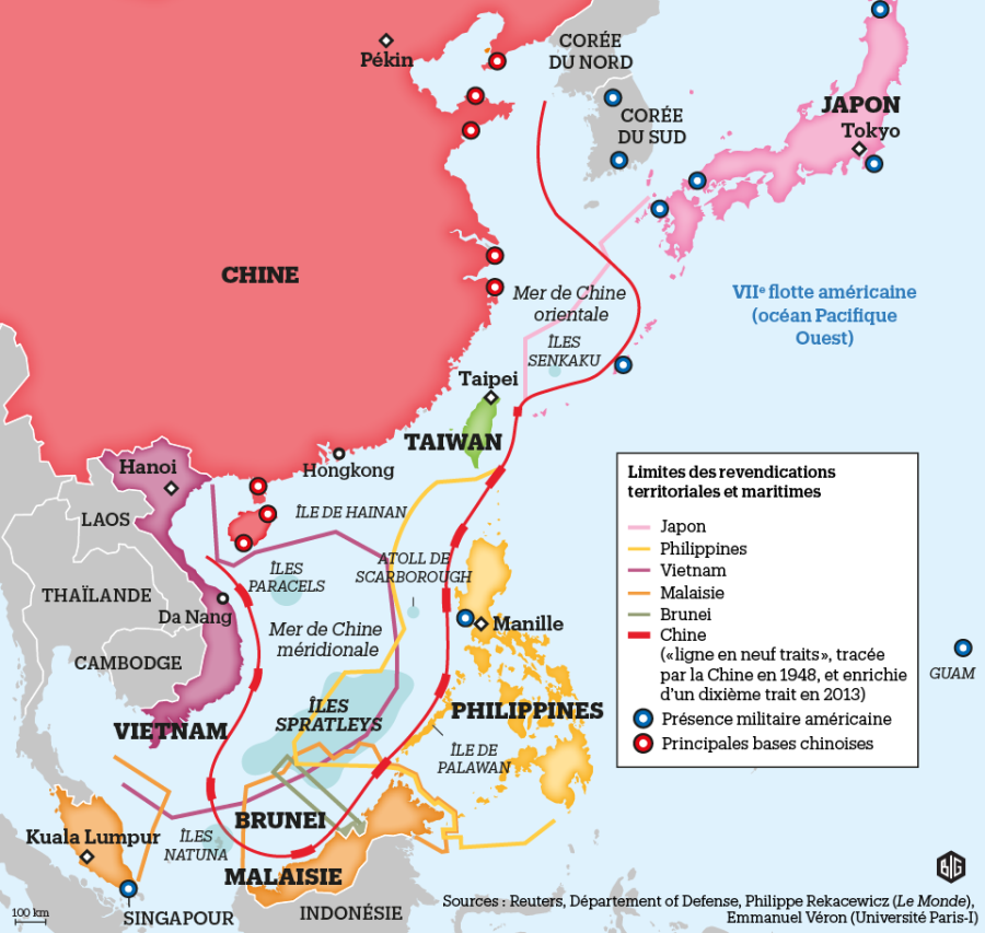 CHINE ET SA REGION DONT PHILIPPINES 892213-revendications-territoriales-et-maritimes-en-mer-de-chine-carte-big
