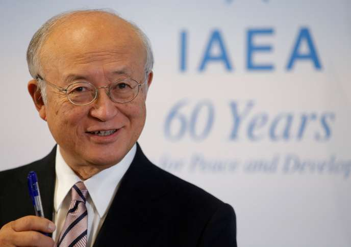 FILE PHOTO: IAEA Director General Amano addresses a news conference during a board of governors meeting in Vienna