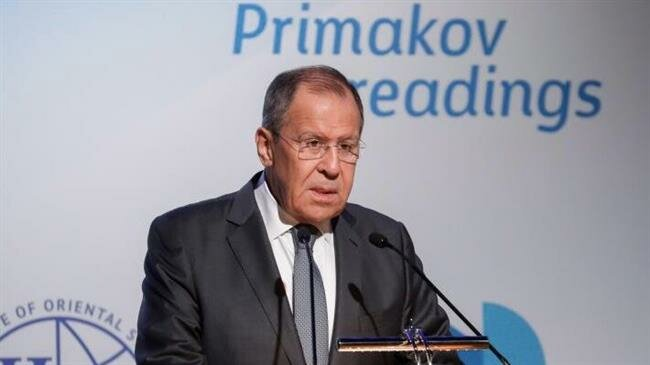 Russian Foreign Minister Sergei Lavrov addresses the Primakov Readings forum in Moscow on June 11, 2019. 5df340c4-e67e-4f06-9827-72a311dddebd