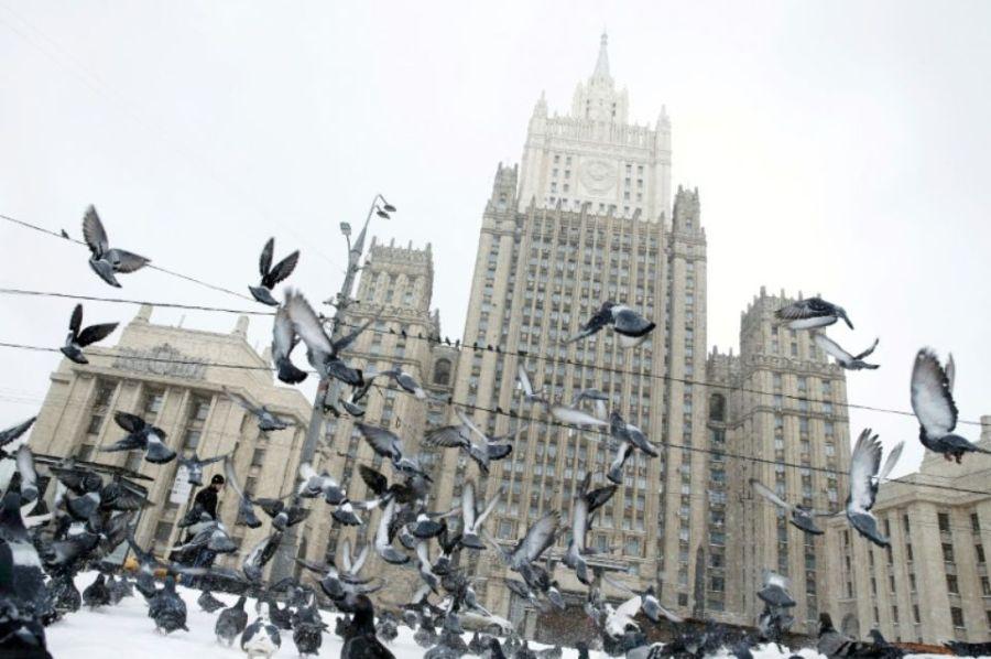 RUSSIE 1108646-vue-sur-le-siege-du-ministere-russe-des-affaires-etrangeres-a-moscou-le-27-mars-2018