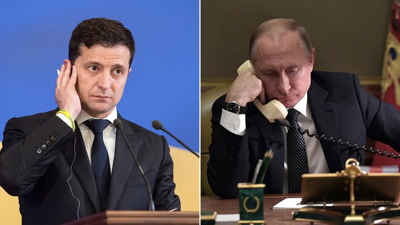UKRAINE RUSSIE Le président ukrainien Volodymir Zelensky et le président russe Vladimir Poutine. aout 2019 5d4ae353488c7be1028b4567