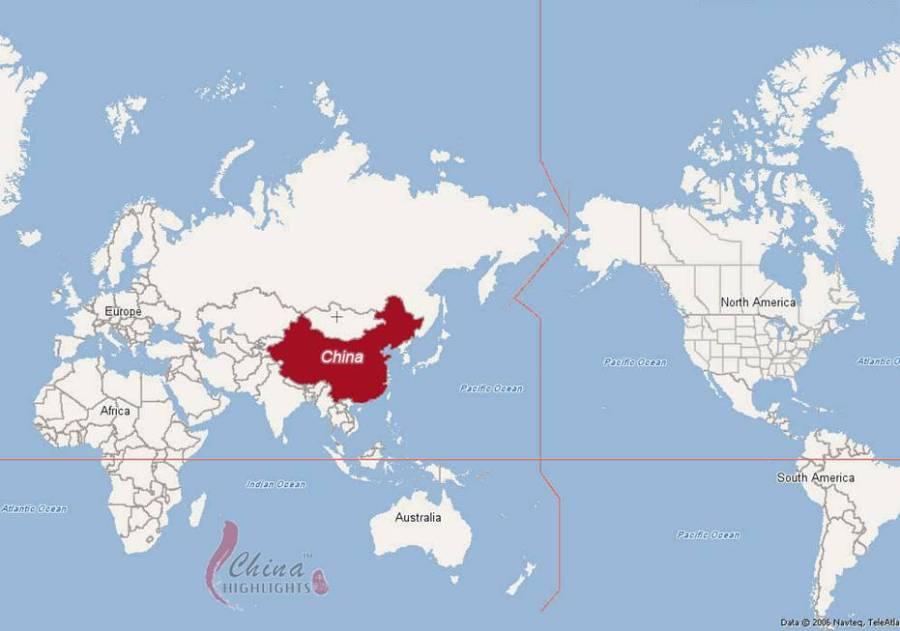 australie Carte-centrée-sur-la-Chine