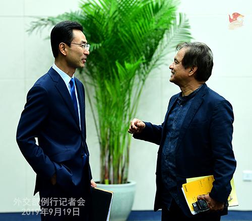 CHINE 15 Conférence de presse du 19 septembre 2019 tenue par le porte-parole du Ministère des Affaires étrangères Geng Shuang W020190923389884572315