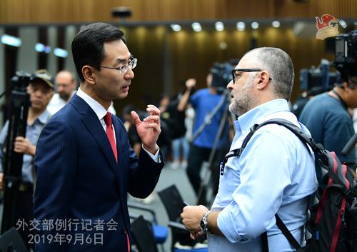 CHINE 4 Conférence de presse du 6 septembre 2019 tenue par lePorte-parole du Ministère des Affaires étrangères Geng ShuangW020190911376147962429