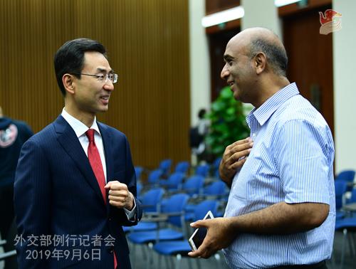 CHINE 5 Conférence de presse du 6 septembre 2019 tenue par lePorte-parole du Ministère des Affaires étrangères Geng ShuangW020190911376147964131