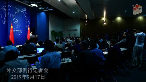 CHINE 8 Conférence de presse du 17 septembre 2019 tenue par la Porte-parole du Ministère des Affaires étrangères Hua Chunying W020190917798652034826