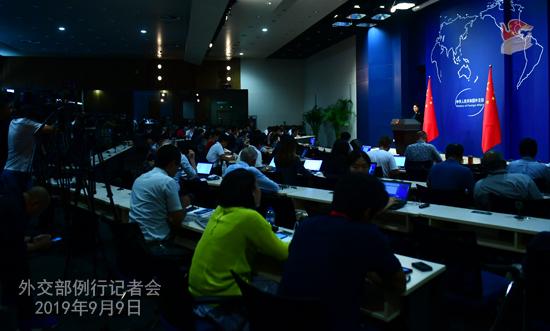chine 8 Conférence de presse du 9 septembre 2019 tenue par la porte-parole du Ministère des Affaires étrangères Hua ChunyingW020190909691024264429