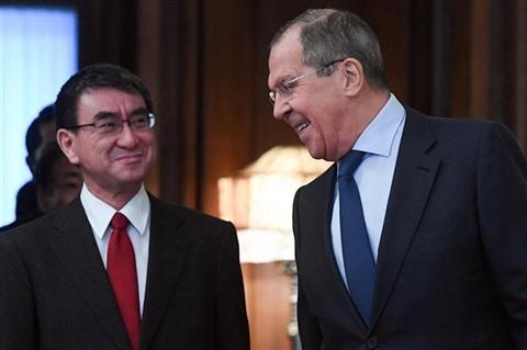 japon russie le Ministre japonais des Affaires étrangères Taro Kono 1133273771