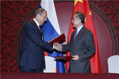 RUSSIE CHINE Wang Yi rencontre le Ministre russe des Affaires étrangères février 2019 W020190301366919331972