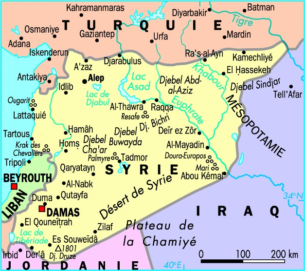 Syrie-carte-de-la-Syrie-frontiere-avec-Turquie-Syrie-Alep-Damas-Homs-Lattaquié-Hama-Ar-Raqqa-Syrie-Moyen-Orient