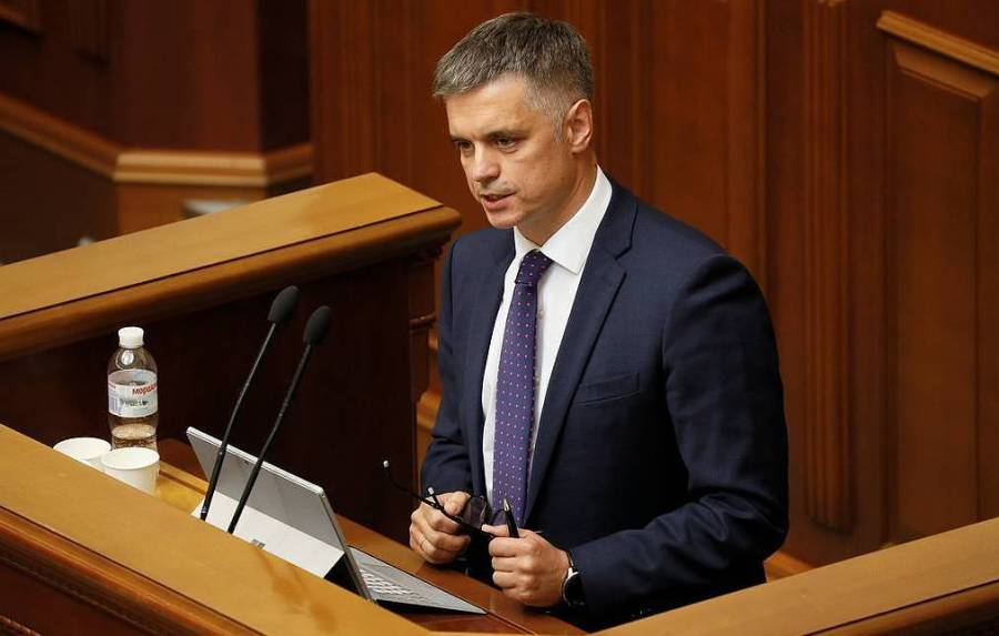 Ukrainian former ambassador Prystaiko attends a session of parliament in Kiev
