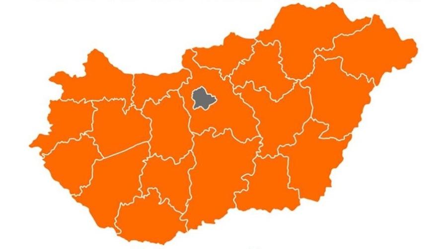 Carte des régions hongroises suite aux élections municipales et régionales d'octobre 2019 en orange, les départements où le Fidesz est arrivé en têteonkormanyzati-valasztasok-2019-VP