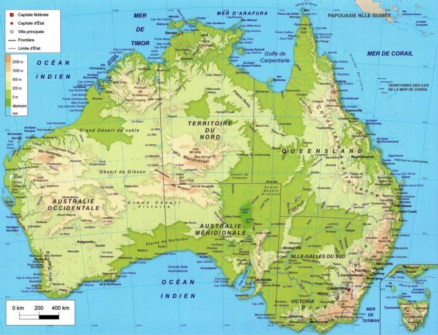 carte_australie_relief_altitude_echelle_villes_lacs_montagne_baie_cap