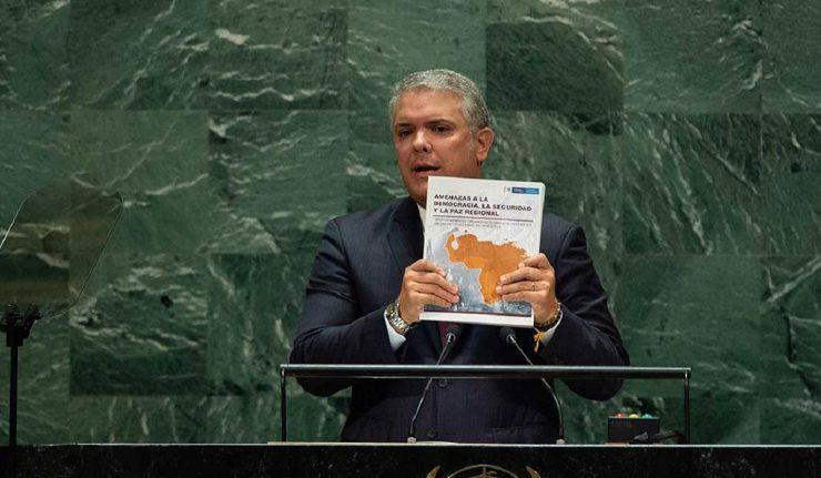COLOMBIE LE PRESIDENT COLOMBIEN Ivan Duque présente un rapport frauduleux contre le Venezuela à l'ONU 4-740x431