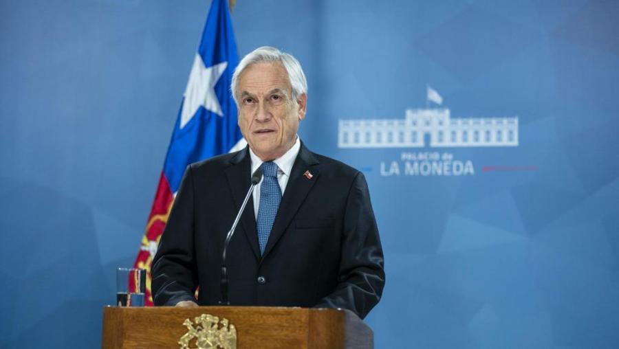 CHILI Le président chilien Sebastian Pinera lors de son discours le 21 octobre 2019 à Santiago du Chili.000_1lm53u_0