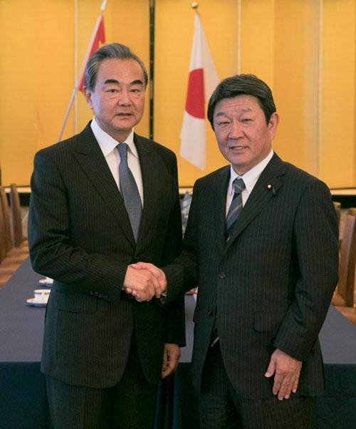 CHINE JAPON Le conseiller d'Etat et ministre chinois des Affaires étrangères Wang Yi s'est entretenu lundi à Tokyo avec le ministre japonais des Affaires étrangères Toshimitsu Motegi,la W020191128383971364022