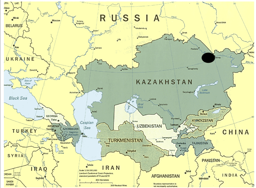 Geographic-map-of-Kazakhstan-The-black-circle-indicates-the-area-of-Semey-where-the