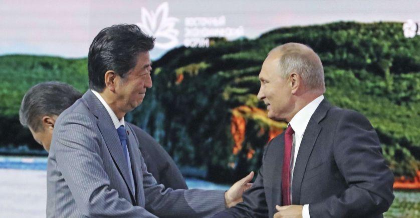 JAPON RUSSIE SHINZO ABE ET VLADIMIR POUTINE 12 Septembre 2018 sipa_ap22246561_000001