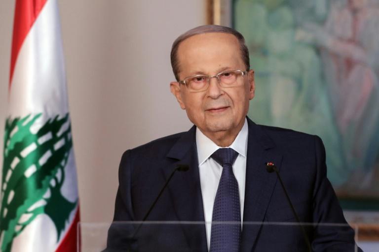 LIBAN Photo distribuée par l'agence de photo libanaise Dalati et Nohra du président libanais Michel Aoun lors d'une allocution télévisée, le 31 octobre 2019 5a41a6acc6bcf614627606c9e67894dfeb37f216