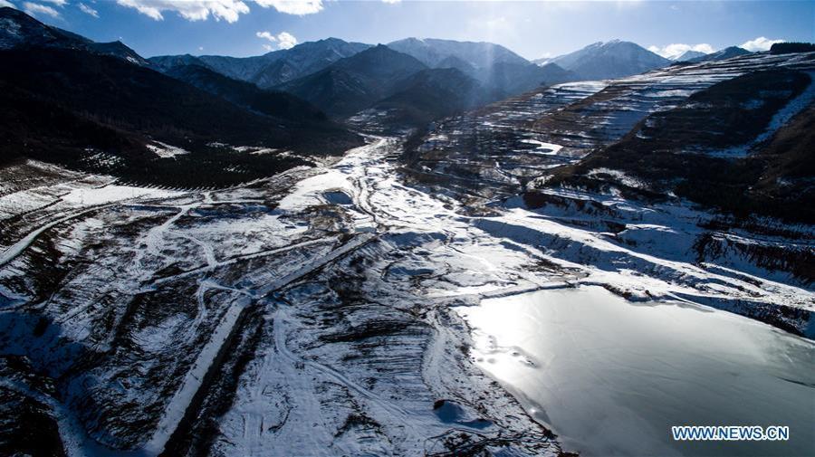 chine Photos aériennes prises le 24 novembre 2018 montrant le paysage d'hiver du Parc forestier de Xiaqunsi dans le district de Ping'an de la province du Qinghai (nord-ouest de la Chine)FOREIGN201811270828000372825349521
