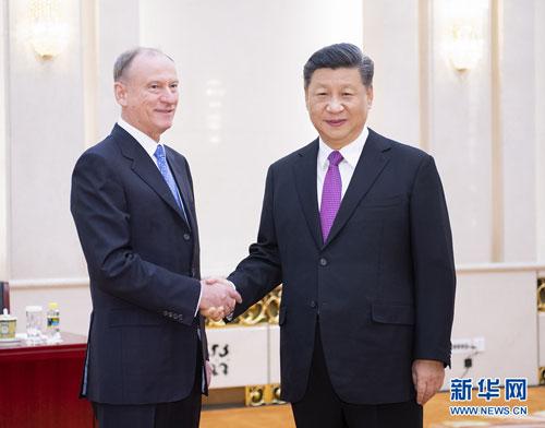 chine russie le Président Xi Jinping a rencontré le Secrétaire général Patrushev.W020191205352205484569