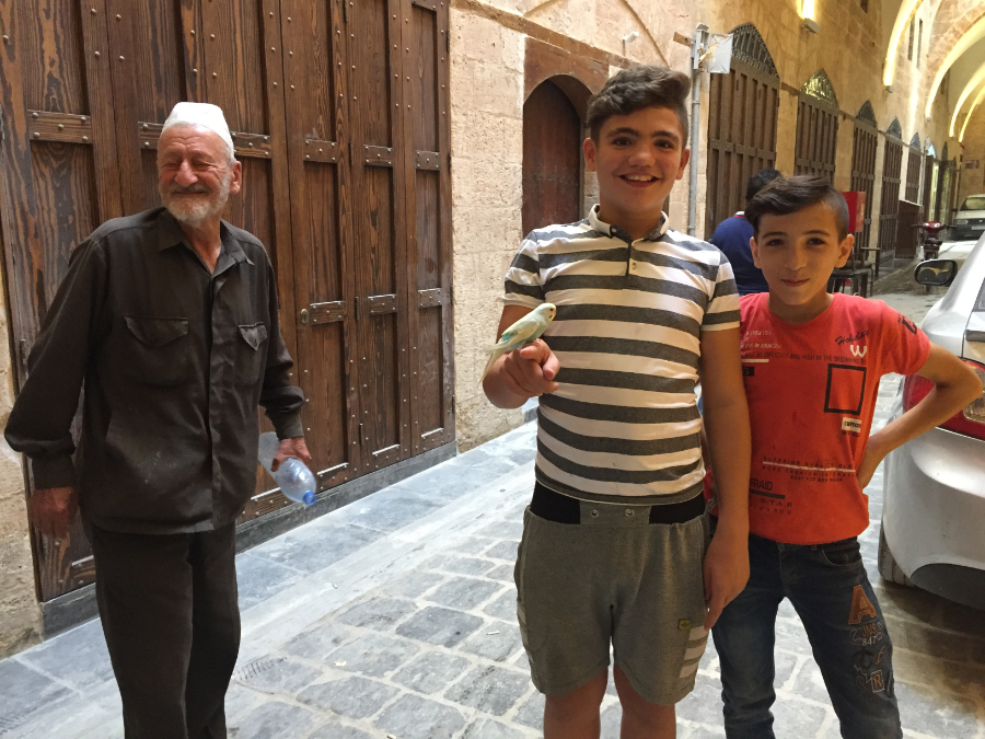 La reconstruction du Souk Al Sakatia dans la vieille ville d'Aleppo observée par les jeunes et les moins jeunes. (photo Karin Leukefeld)