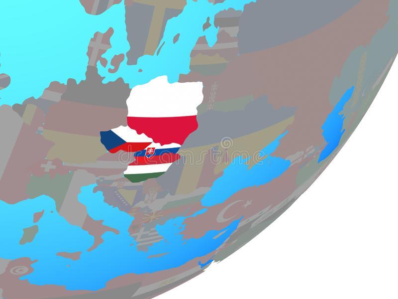 carte-de-groupe-visegrad-avec-le-drapeau-sur-globe-128097633