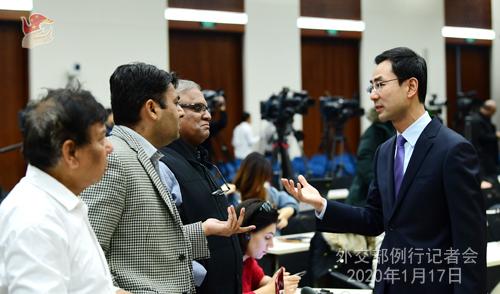 CHINE 21 Conférence de presse du 17 janvier 2020 tenue par le porte-parole Geng Shuang W020200122382795862527