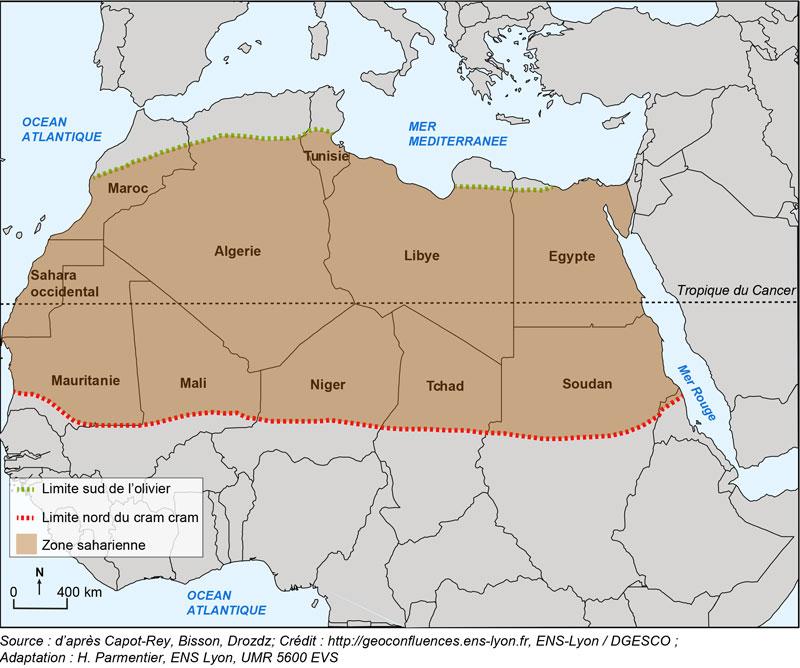 Etude de cas N°2 - le Sahara par les cartes - un espace riche, parcouru et convoité SaharaCarte1