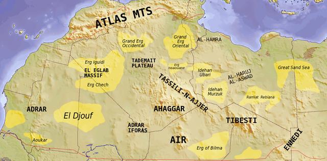 Etude de cas N°3 - le Sahara par les cartes - un espace riche, parcouru et convoité 640px-Saharan_topographic_elements_map