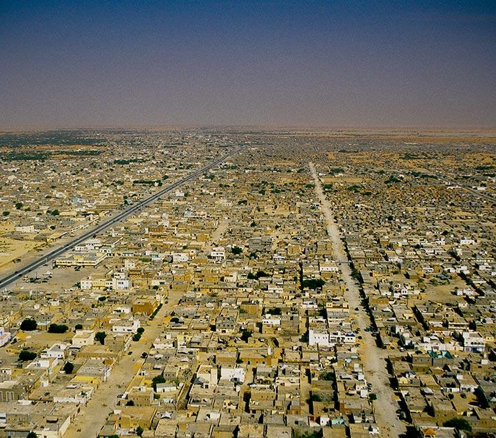Photographie aérienne de la mauritanie