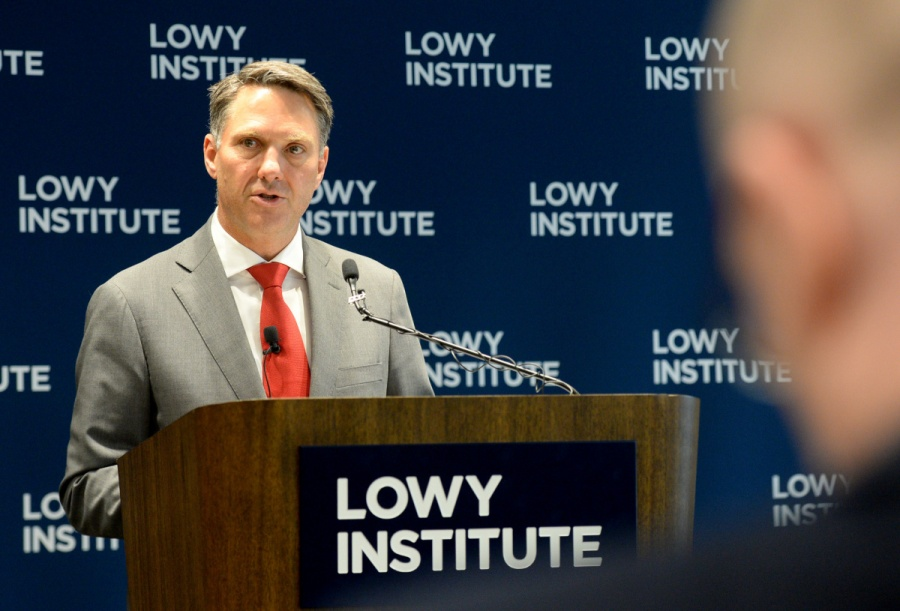 Shadow defence minister Richard Marles addresses the Lowy Institute in November, 2017. Photo AAP 1558317688-20171121001324711327-original